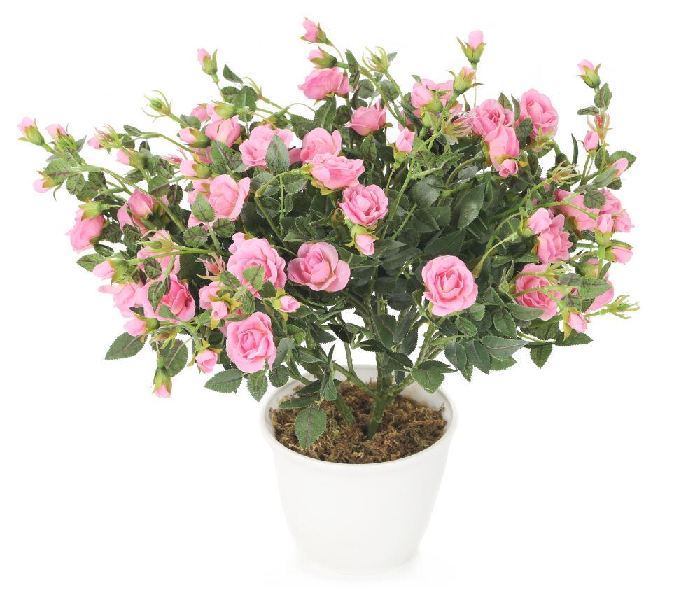 Artificial 40cm Pink Miniature Rose Plant Artplants