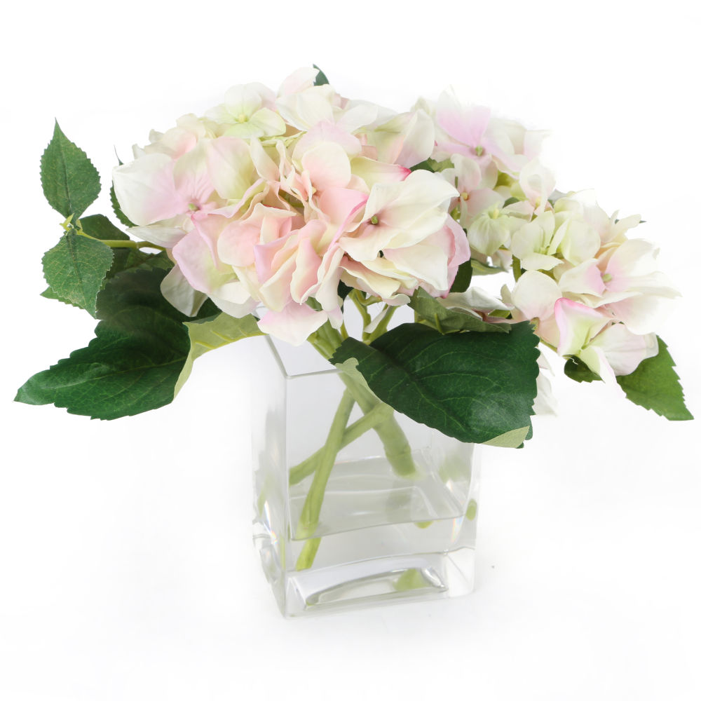 Spring hydrangea arrangement for use in a burlap wreath the