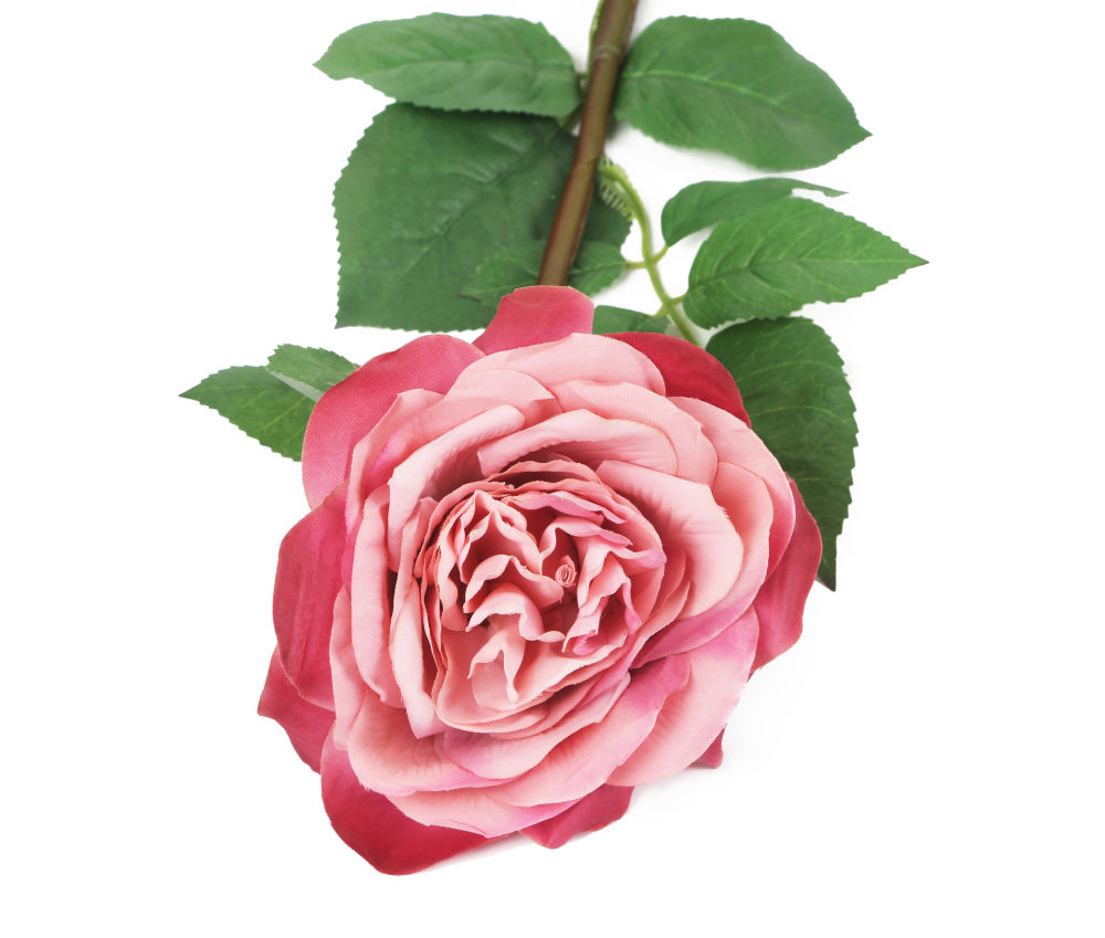 Artificial 92cm Single Stem Fully Open Dusky Pink Rose Closer2nature