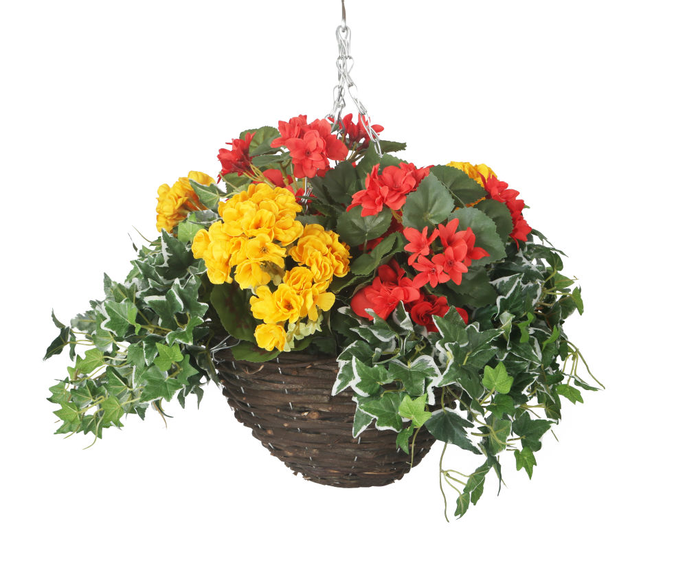 Artificial Red And Yellow Begonia Display In A 10 Round Willow