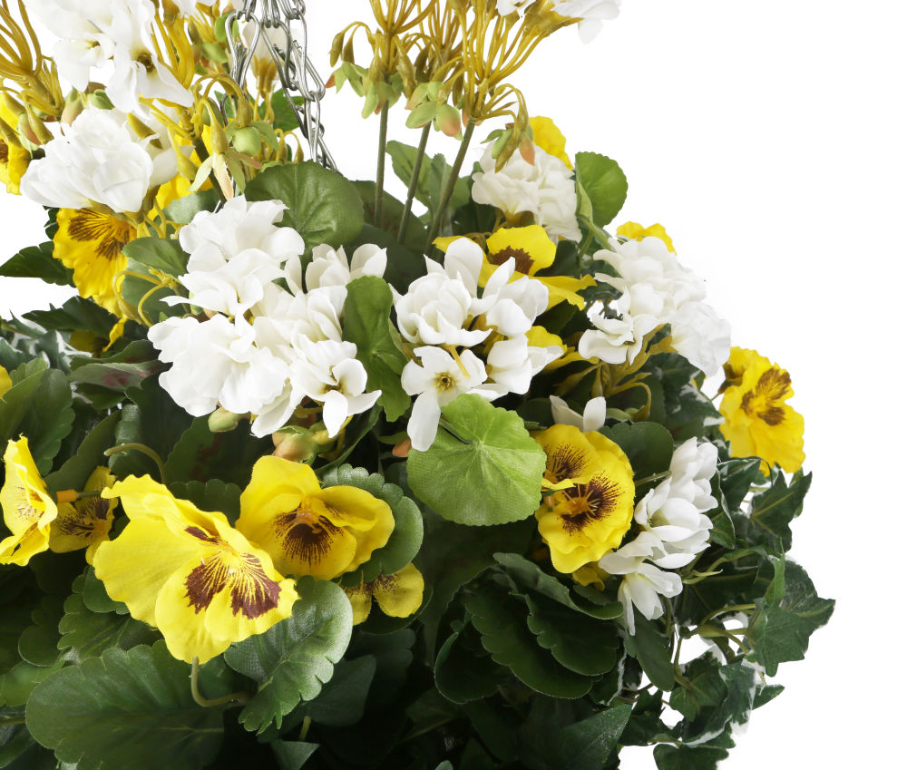 Artificial Yellow Pansy And White Geranium Display In A 12 Cone