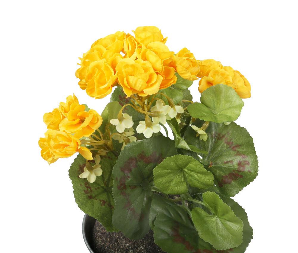 Closer2nature Artificial 24cm Yellow Zonal Geranium Plug Plant