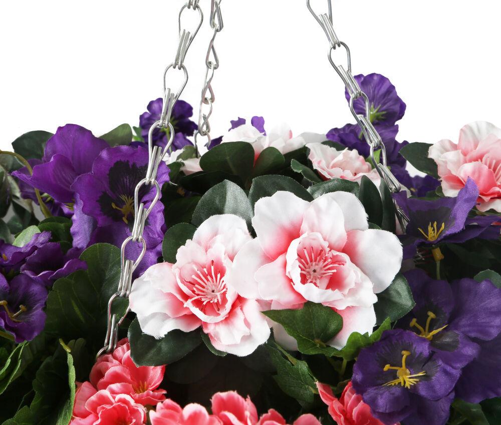 Closer2nature Artificial Purple Pansy Pink Azalea And Geranium