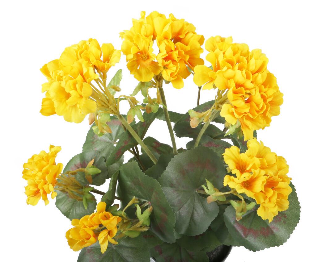 Artificial 38cm Golden Yellow Zonal Geranium Plug Plant Artplants