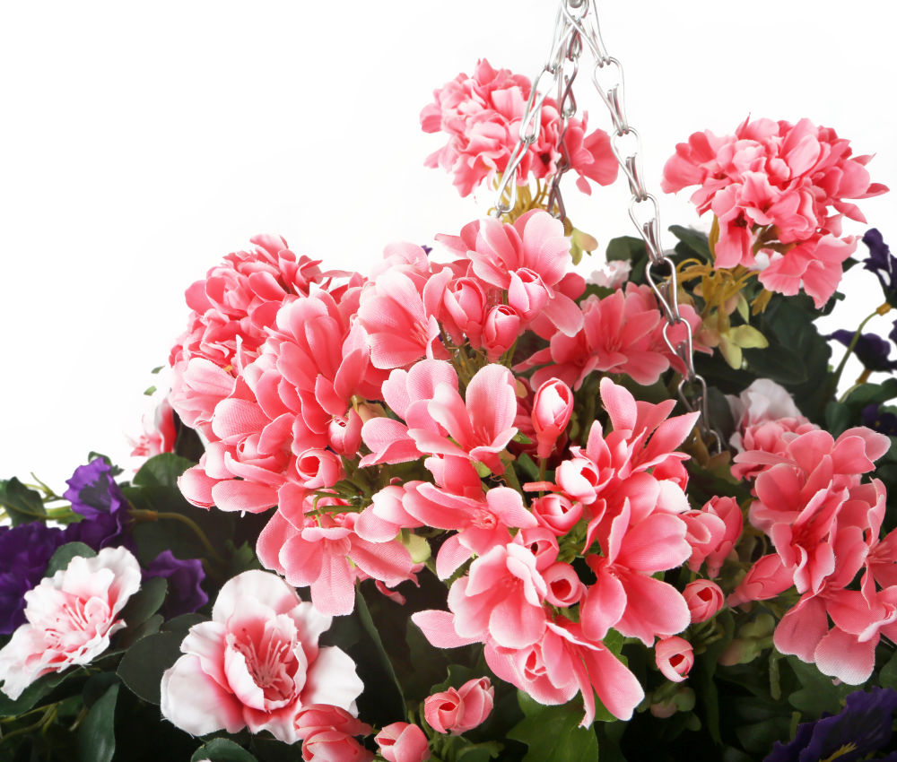 Artificial Purple Pansy Pink Azalea And Geranium Display In A 14
