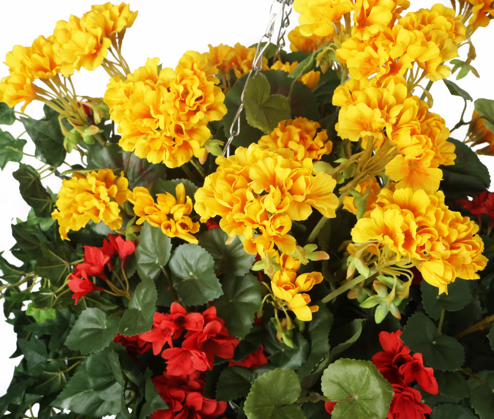Artificial Red Begonia And Yellow Geranium Display In A 14 Round