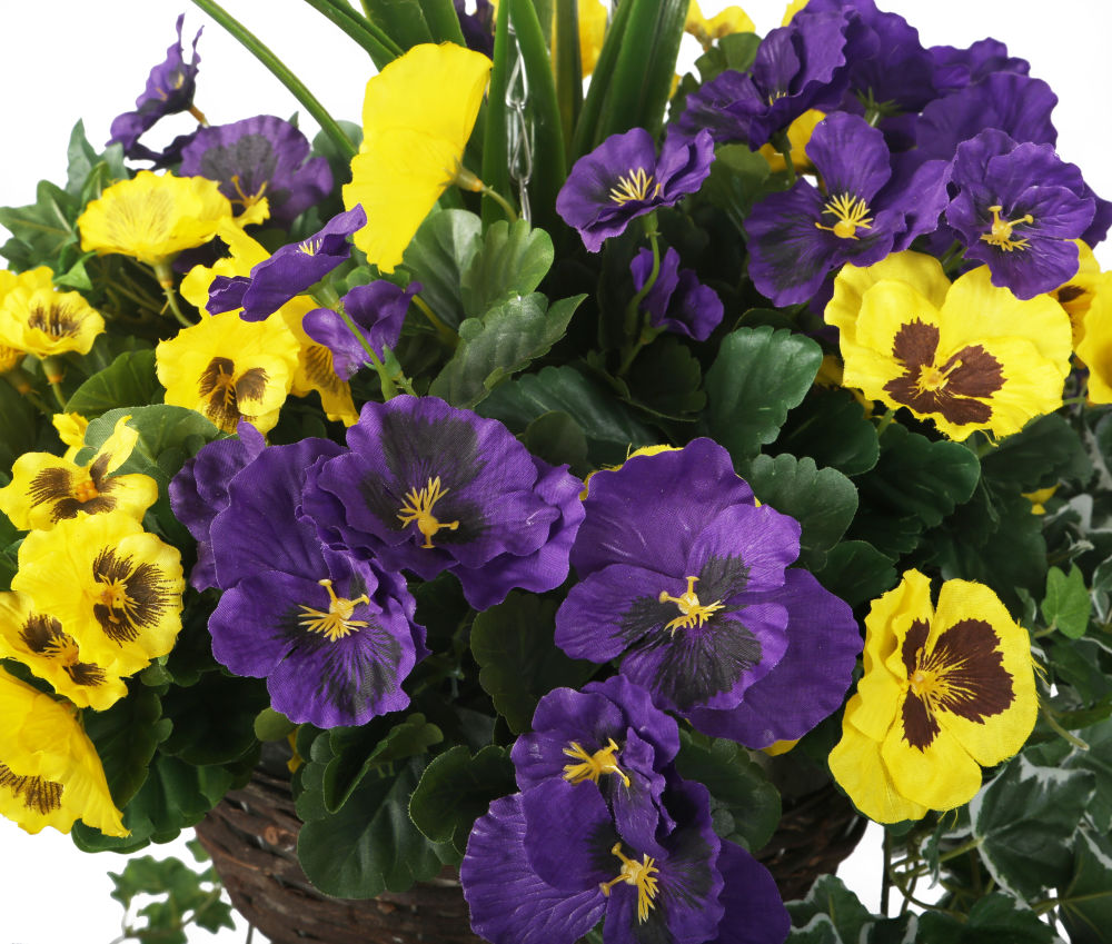 Artificial Purple And Yellow Pansy Display In A 12 Round Willow
