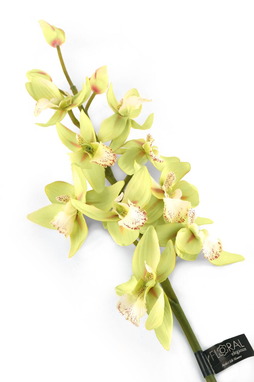 Artificial 84cm Single Stem Green Cymbidium Orchid Closer2nature