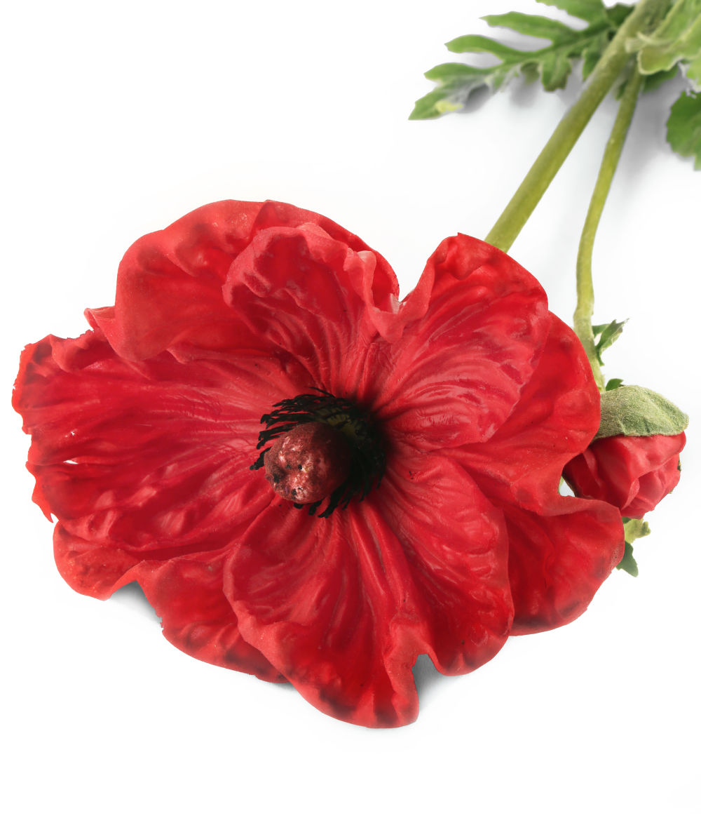 Artificial 74cm Single Stem Real Touch Red Poppy Closer2nature